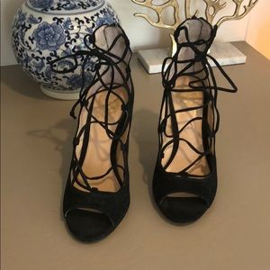 Vince Camuto lace up black suede heels